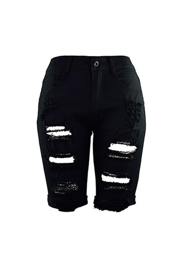 Lovely Fashion High Waist Broken Holes Black Denim Zipped Shorts