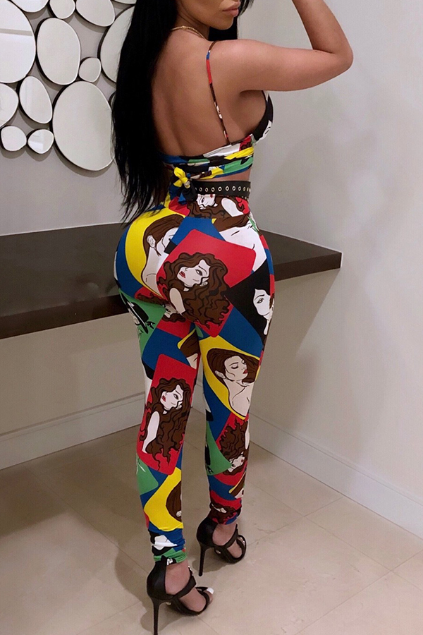 Lovely Sexy V Neck Cartoon Characters Printed Polyester Two-Piece Pants Set(Without Belt)