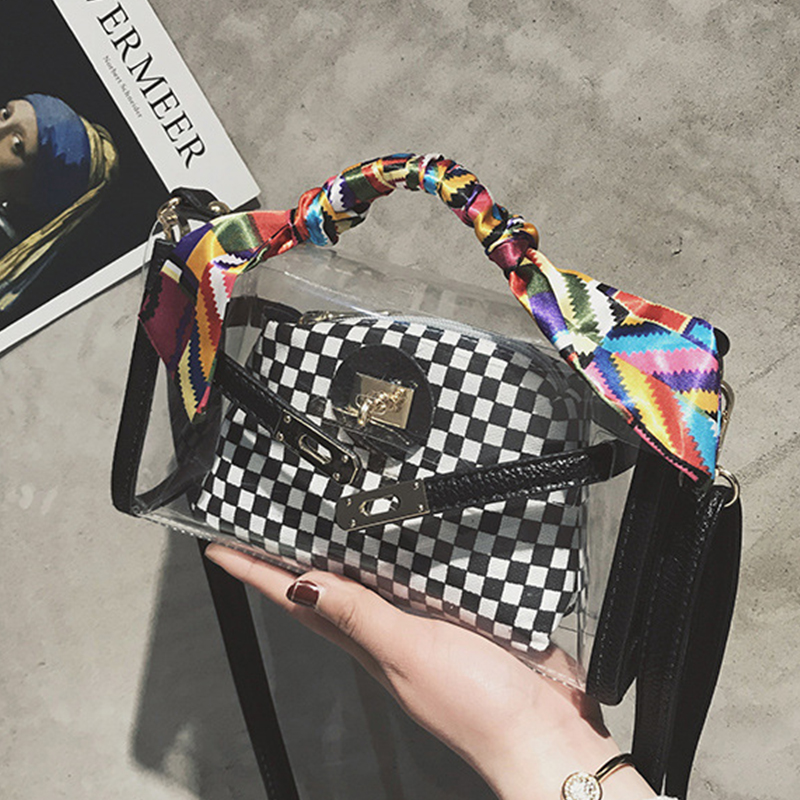 Lovely Vintage Plaid Printed Black PU Clutches Bags
