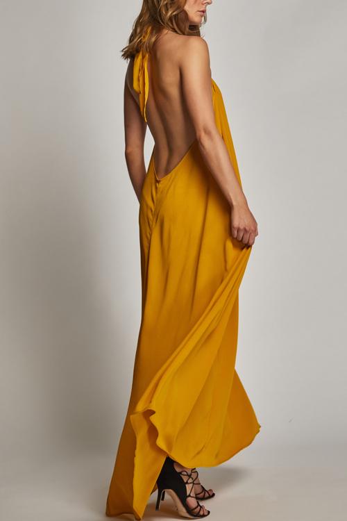 Lovely Bohemian Halter Neck Backless Yellow Rayon Floor Length Dress