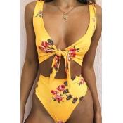 Linda Moda Nó Design Impressão De Poliéster Amarelo Roupas De Banho De Uma Peça