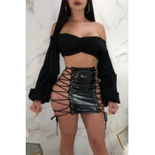 Lovely Sexy Lace-up Hollow-out Black Leather Sheath Mini Skirt