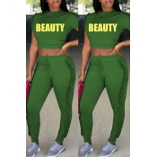 Lovely Casual Round Fold Design Green Polyester Two-piece Pants Set