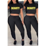 Lovely Casual Round Fold Design Black Polyester Two-piece Pants Set