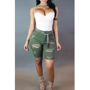 Lovely Fashion Mid Waist Broken Holes Army Green D