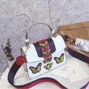 Симпатичная Шикарная Бабочка Декоративный Дизайн Hasp Белый PU Мешок Clutches