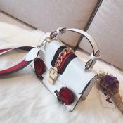 Bolsos Decorativos Blancos De La PU Del Apretón Decorativo Floral Encantador De La Moda