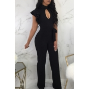 Lovely Sexy Round Neck Ruffle Hollow-out Black Polyester One-piece Jumpsuits(With Belt)