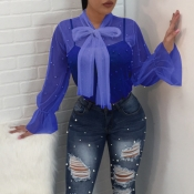 Lovely Fashion Turtleneck See-Through Nailed Pearl Bow Tie Blue Polyester Shirts(Without Subcoating)