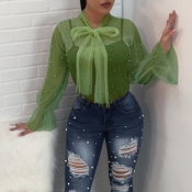 Lovely Fashion Turtleneck See-Through Nailed Pearl Bow Tie Army Green  Polyester Shirts(Without Subcoating)