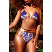 Lovely Sexy Lace-up Hollow-out Printing Purple Polyester Two-piece Swimwears