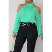 Lovely Fashion Mandarin Collar Cold-shoulder Green