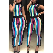 Lovely Sexy Round Neck Ruffle Striped Patchwork Baby Blue Polyester One-piece Jumpsuits