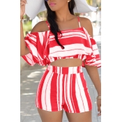 Lovely Sexy Spaghetti Strap Sleeveless Striped Red Polyester Two-piece Shorts Set