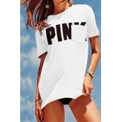 Lovely Casual Round Neck Short Sleeves Letters Pri