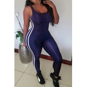 Lovely Leisure U-shaped Neck Sleeveless Patchwork Royalblue Qmilch One-piece Skinny Jumpsuits