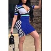 Симпатичное Сексуальное Мансарда Воротника Лоскутное Шитье Здоровое Платье Ткани Миниое Платье