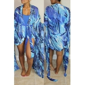 Lovely Sexy U Neck Printing Blue  One-piece Swimwear(With Cover-up)