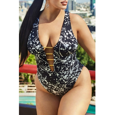 Lovely Sexy Deep V Neck Backless Printing Black Polyester One-piece Swimwears