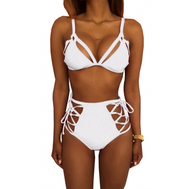 Lovely Fashion Lace-up Hollow-out White Polyester Two-piece Swimwears