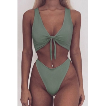 Lovely Sexy Knot Design Green Polyester Two-piece Swimwears
