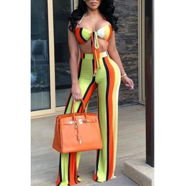 Lovely Sexy V Neck Color Striped Multi Qmilch Two-Piece Pants Set