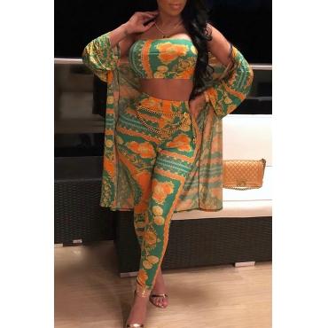 Симпатичная Мода Bateau Шея Цветочный Печатный Желтый Полиэстер Двух Частей Брюки Набор (с Пальто)