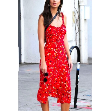 Lovely Casual U neck Printed Red Cotton Blends Mid Calf Dress