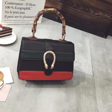 Lovely Fashion Color Collision Design Black PU Messenger Bags