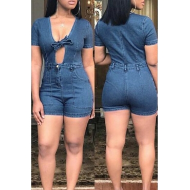 Lovely Fashion V Neck Bow Dark Blue Denim One-piece Short Jumpsuits
