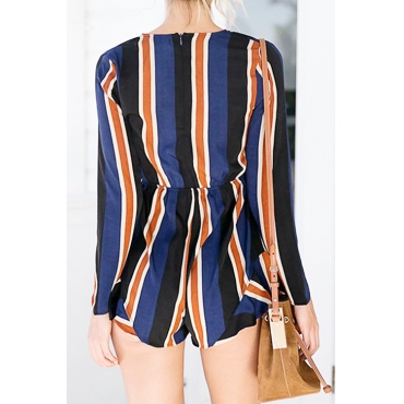 Lovely Sexy V Neck Bow Striped Blue Polyester One-piece Short Jumpsuits