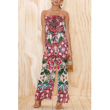 Lovely Chic Bateau Neck Drawstring Floral Printed Pink Polyester One-piece Jumpsuits