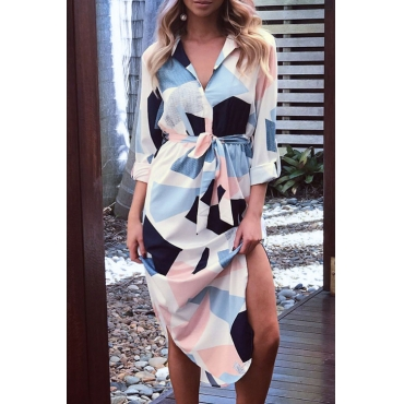 Lovely Fashion Turndown Collar Asymmetrical Hem Non Positioning Geometric Printed Polyester Mid Calf Dress(With Belt)