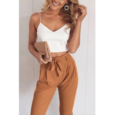 Lovely Casual V Neck Khaki Terylene/Cotton Two-Piece Pants Set(With Belt)