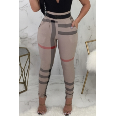 Lovely Fashion High Elastic Waist Irregular Striped Printed Polyester Pants(Without Belt)
