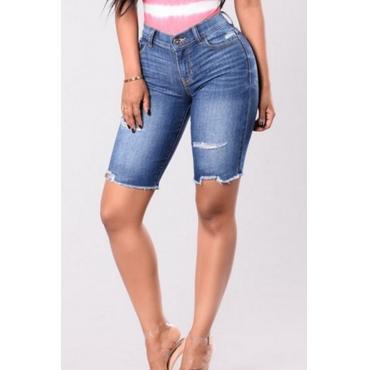 Lovely Trendy High Waist Rough Selvedge Deep Blue Denim Zipped Shorts