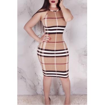 Lovely Sexy Round Neck Plaid Printed Khaki Cotton Blend Knee Length Dress