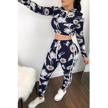 Lovely Casual Hooded Collar Floral Printed White Twilled Satin Two-Piece Pants Set