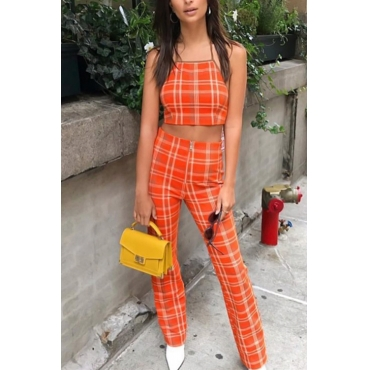 Lovely Sexy Halter Neck Plaid Printed Orange Polyester Two-Piece Pants Set