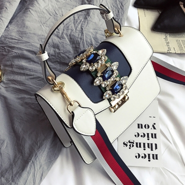 Lovely Fashion Diamante Decorative White PU Crossbody Bag
