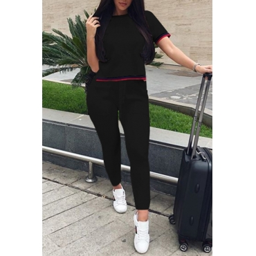 Lovely Fashion Round Neck Patchwork Black Polyester Two-Piece Pants Set