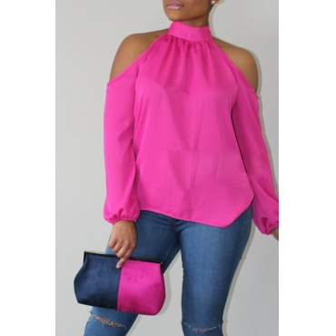 Lovely Fashion Mandarin Collar Cold-shoulder Pink Polyester Shirts