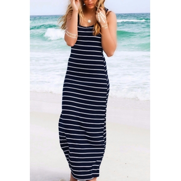 Lovely Casual U Neck Striped Printed Royalblue Cotton Blend Mid Calf Dress