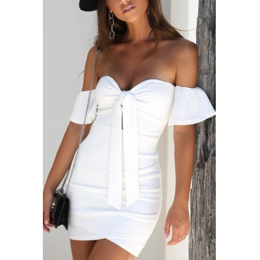 Lovely Sexy Dew Shoulder Knot Design White Polyester Sheath Mini Dress