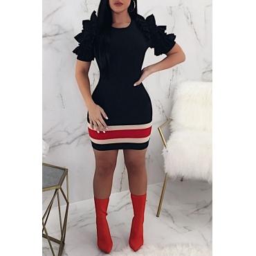 LovelyFashion Round Neck Ruffle Striped Black Cotton Blend Sheath Mini Dress