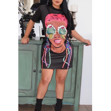 Lovely Casual Round Neck Cartoon Characters Printed Black Cotton Mini Dress