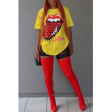 Precioso Ocio Cuello Redondo Manga Corta Impreso Camiseta De Algodón Amarillo