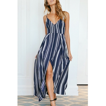 Lovely Fashion V Neck Bandage Striped Side Slit Royalblue Chiffon Ankle Length Dress