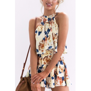 Lovely Bohemian Round Neck Lace-up Floral Printed Yellow Chiffon Two-piece Shorts Set