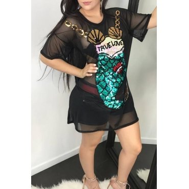 Lovely Sexy Round Neck See-Through Sequins Decoration Black Gauze Mini Dress